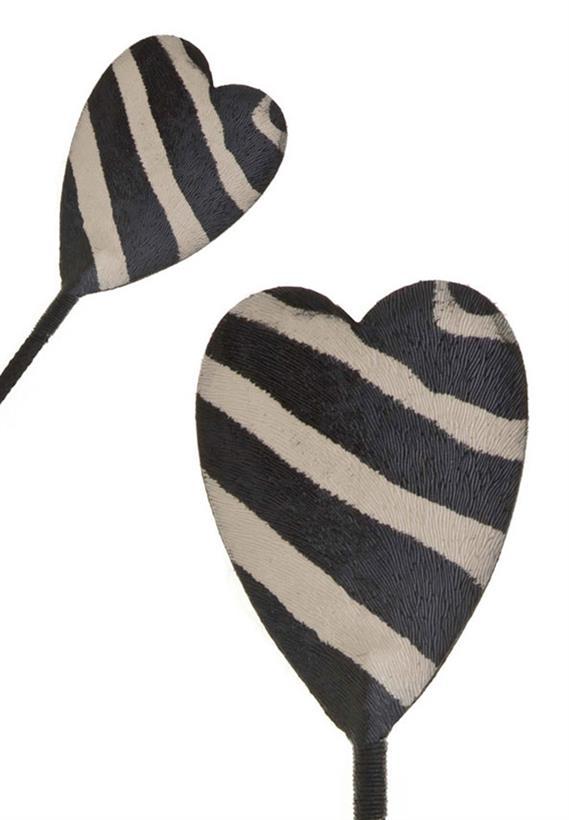 Palmatória Couro Sintético Ponta de Coração Zebra Justine