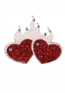 Tatuagem Adesiva 2 Corações com Fogo Bijoux de Pele