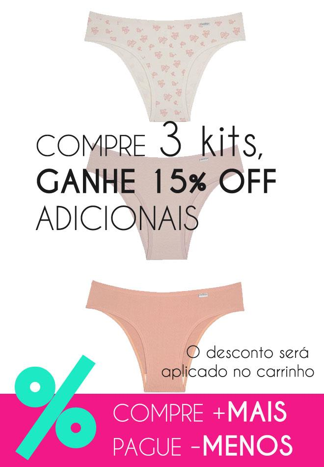 c5a30455f Ampliar. Kit com 3 Calcinhas de Algodão com Elastano DelRio 51364 ...