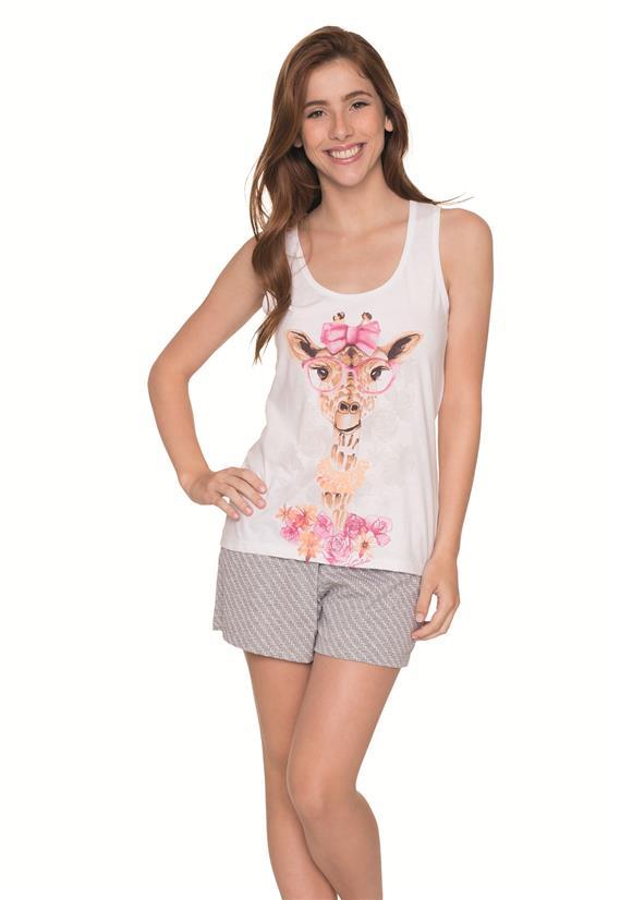 0f72ff096 Pijama de Algodão Regata Girafa Lua Encantada - Le Lingerie