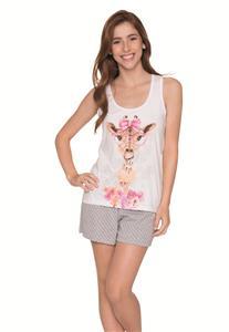 Pijama de Algodão Short Doll Regata Girafa Lua Encantada