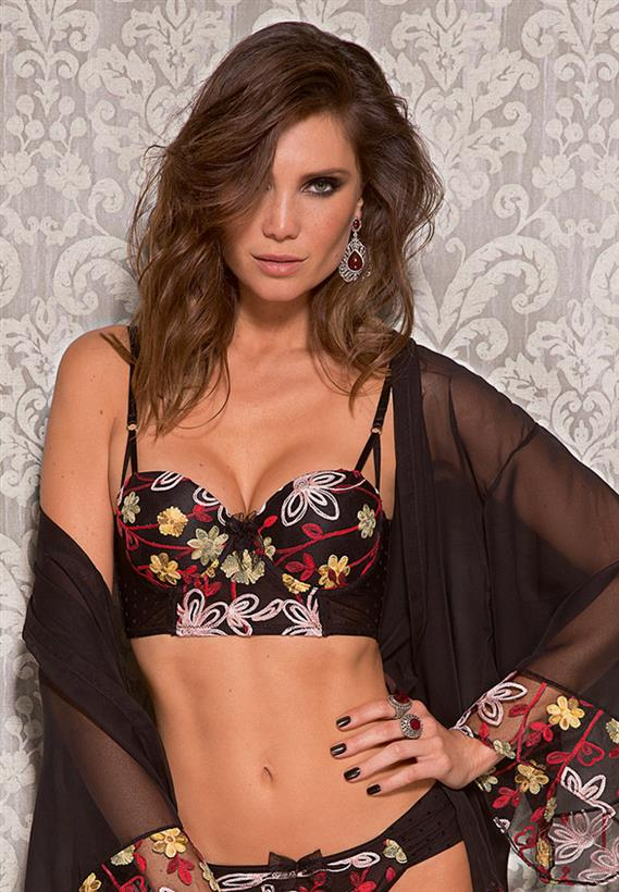 Top de Luxo Bordado Push Up Folk Mania De Chelles