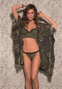 Robe de Luxo Onça Verde Militar Chic De Chelles