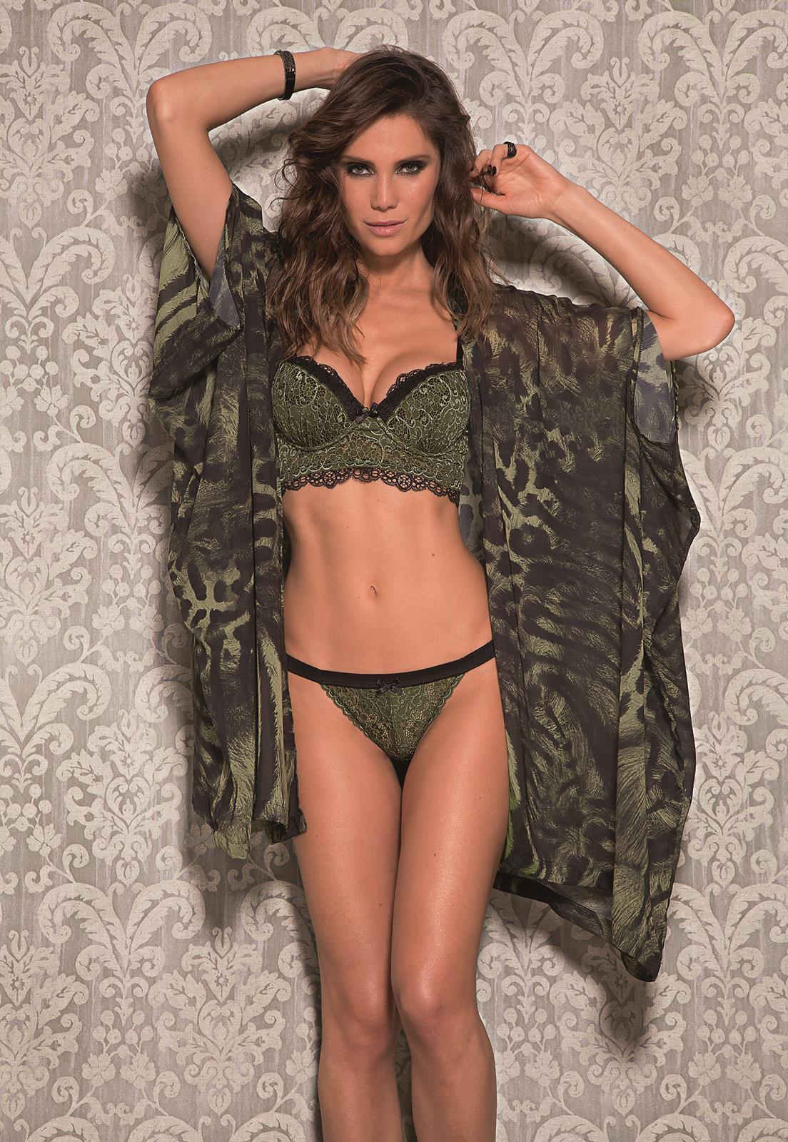 1b97f963e Robe de Luxo Onça Verde Militar Chic De Chelles