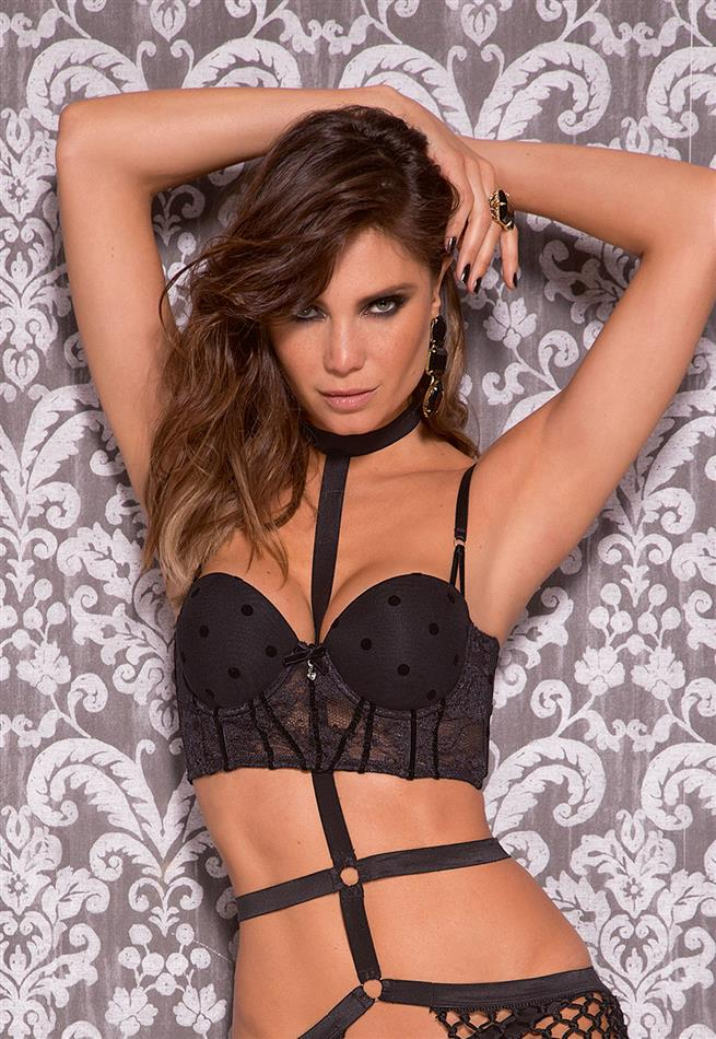 Top Cropped Push Up em Tule Poá De Chelles - Le Lingerie d4be84d1262