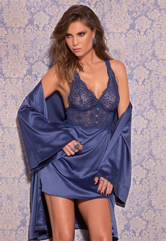 Camisola de Luxo em Cetim com Renda Blue Jeans De Chelles