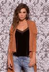 Blusinha em Veludo Preto de Luxo Outwear De Chelles