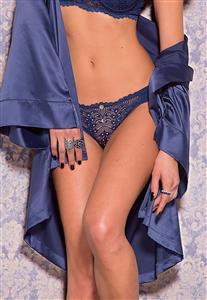 Calcinha de Luxo em Renda e Tule Franzido Blue Jeans De Chelles