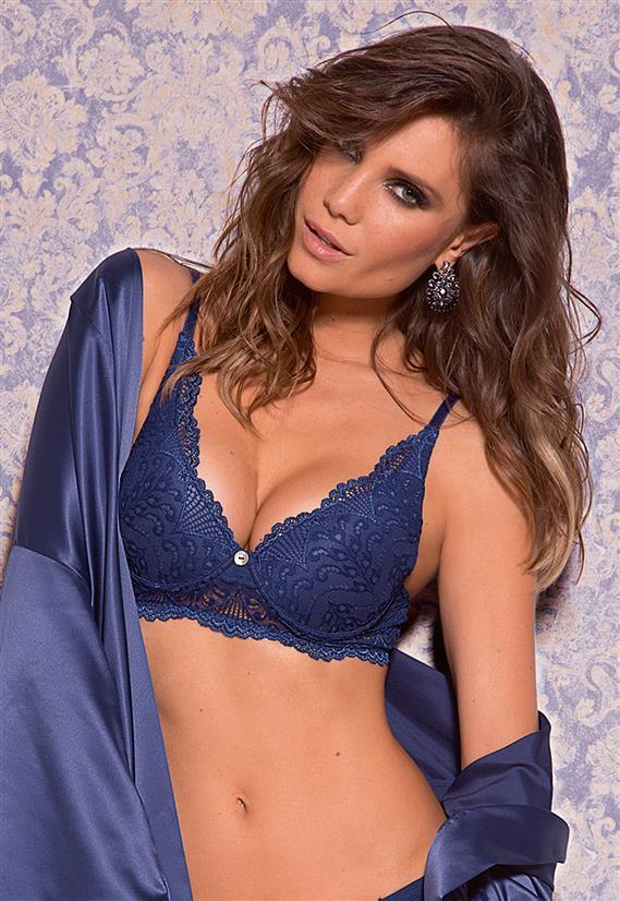 99105d683e2fe Sutiã de Luxo Push Up em Renda Blue Jeans De Chelles- Le Lingerie