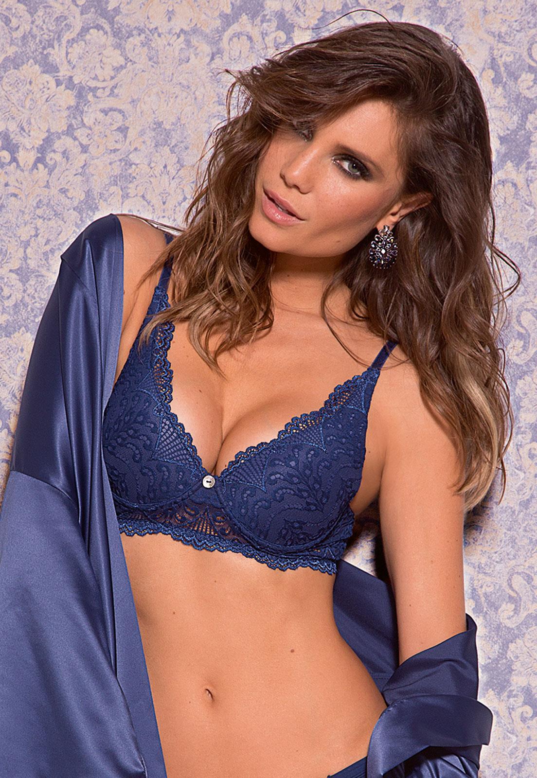 da18cc647 Sutiã de Luxo Push Up em Renda Blue Jeans De Chelles- Le Lingerie
