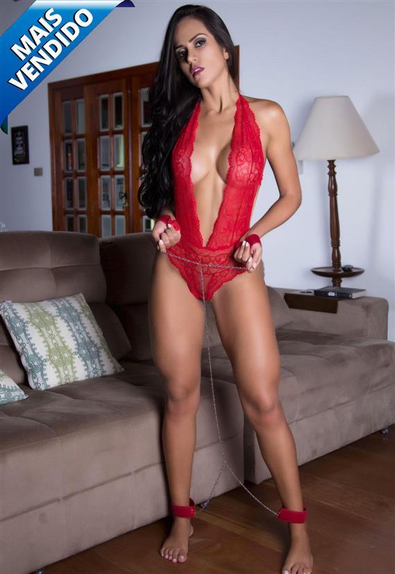 Fantasia Sensual Body Vermelho em Renda de Prisioneira Garota Veneno