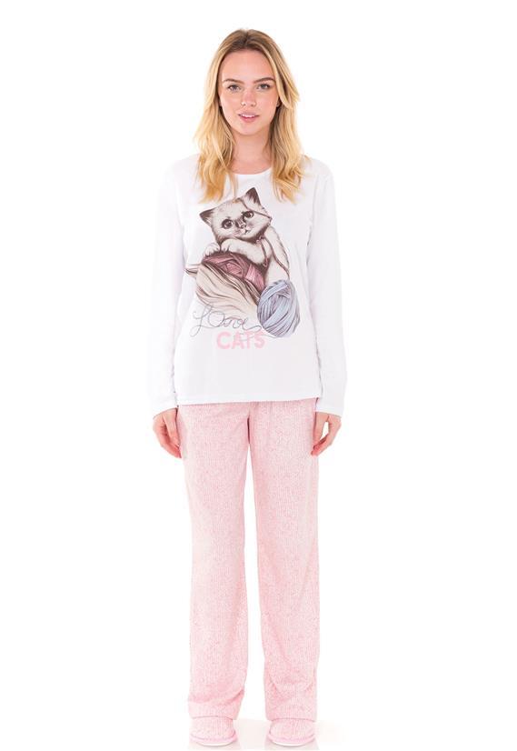 Pijama Love Cats Longo Femenino Trama Lua Encantada
