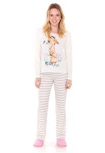 Pijama Creme Estampado Raposinha Lua Encantada