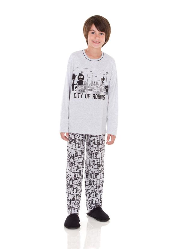 Pijama Infantil Masculino em Malha Robots Lua Encantada