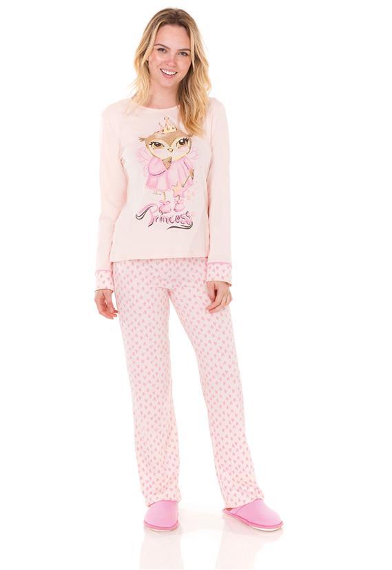 Pijama Longo Feminino Fada Corações Lua Encantada