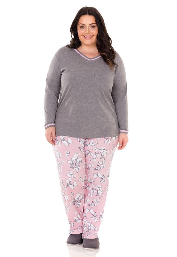 Pijama Plus Size Longo em Malha Borboletas Lua Encantada
