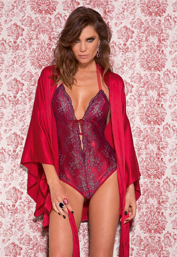 Body Sensual em Renda Bicolor Divino Vermelho  De Chelles