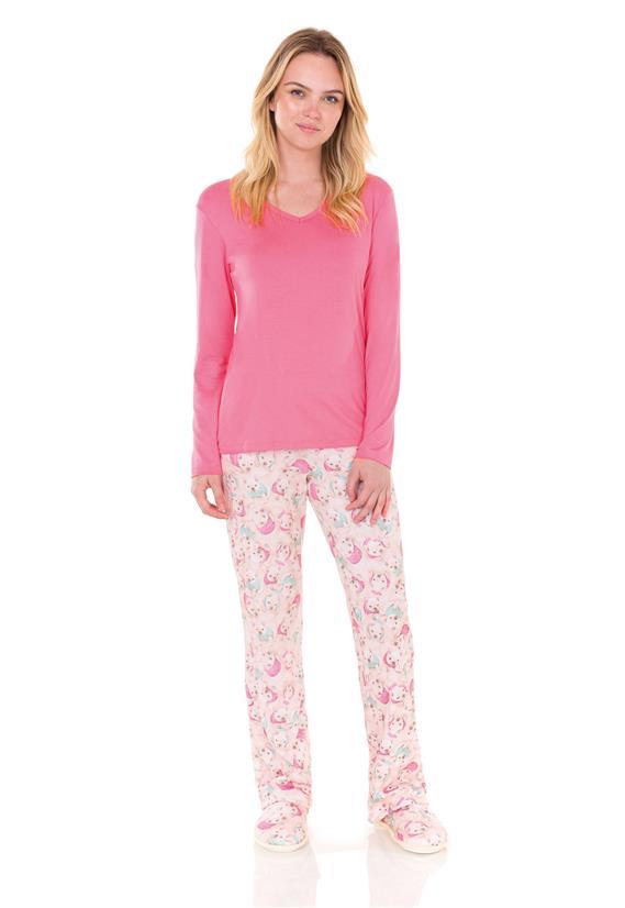 Pijama Feminino Longo em Viscolycra French Bulldog Lua Encantada