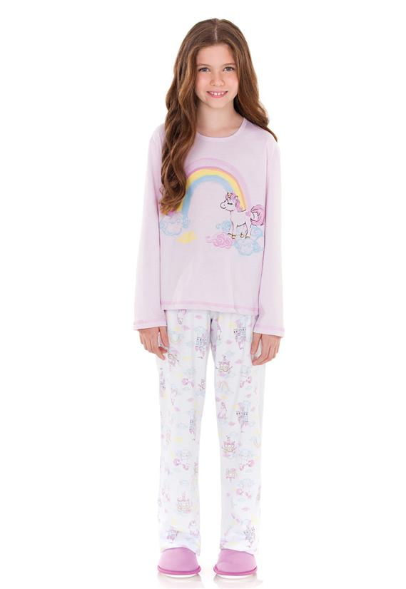 Pijama Juvenil de Inverno Arco Íris Lua Encantada