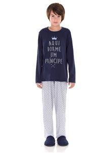 Pijama Juvenil Masculino Longo em Malha Realeza