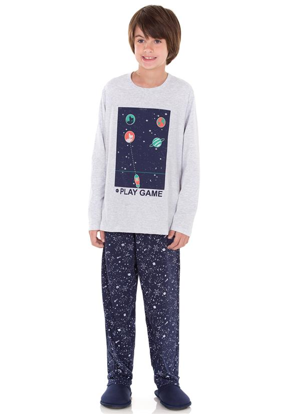 Pijama Masculino Juvenil em Malha Constelação Lua Encantada