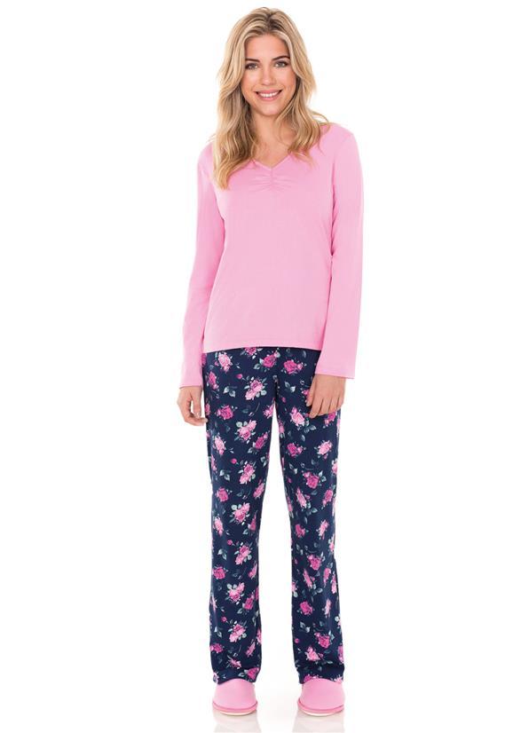 Pijama Longo Feminino Flores Lua Encantada