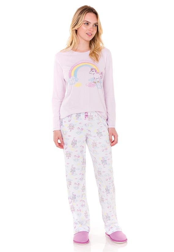 Pijama Feminino de Inverno Arco Íris Lua Encantada
