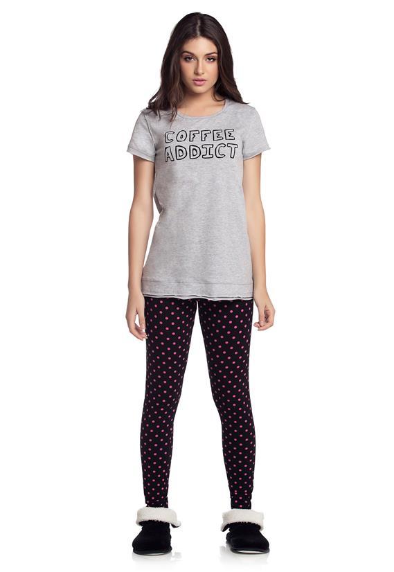 Pijama Manga Curta com Legging Cor com Amor