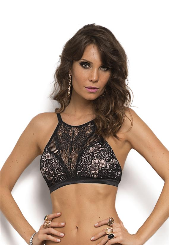 Sutiã High Neck com Renda Miss Fatale De Chelles