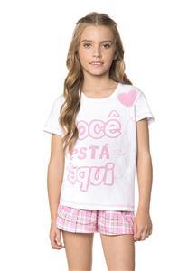 Pijama Juvenil com Manga Curta e Shorts Xadrez Amor Lua Encantada