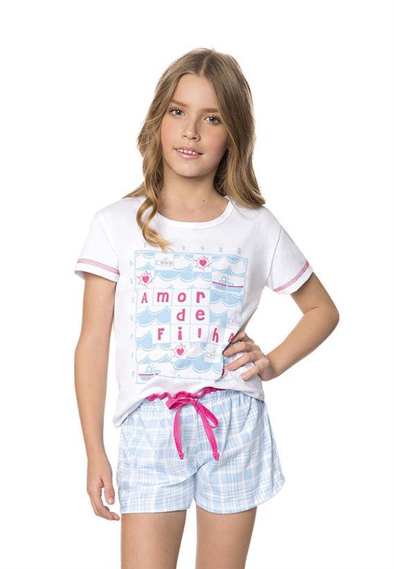 Short Doll Infantil Xadrez Amor de Filha Amores Lua Encantada