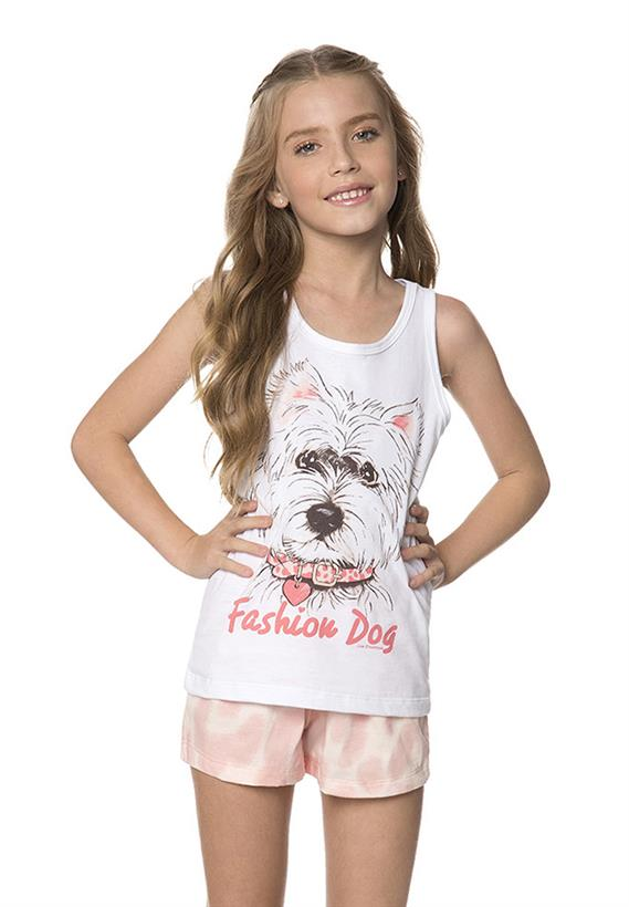 Pijama Juvenil de Verão em Malha Fashion Dog Lua Encantada