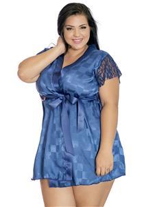 Robe Plus Size Sensual Azul Liz Erótika