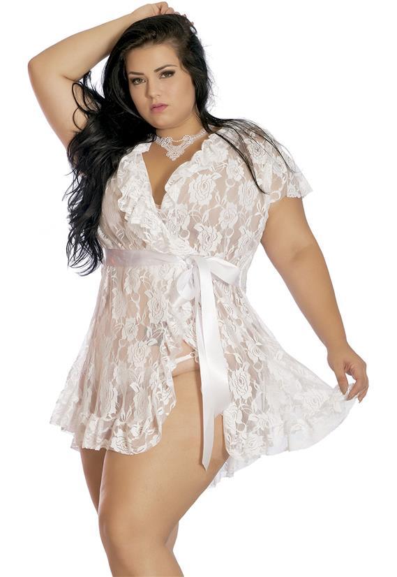 Robe Branco Sensual Plus Size em Renda Erótika
