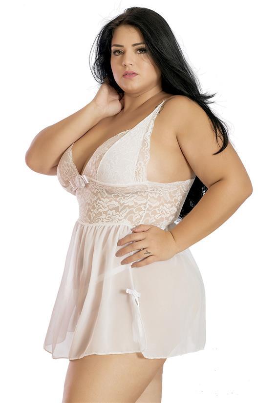 Camisola Branca Sexy Plus Size Fany Erótika