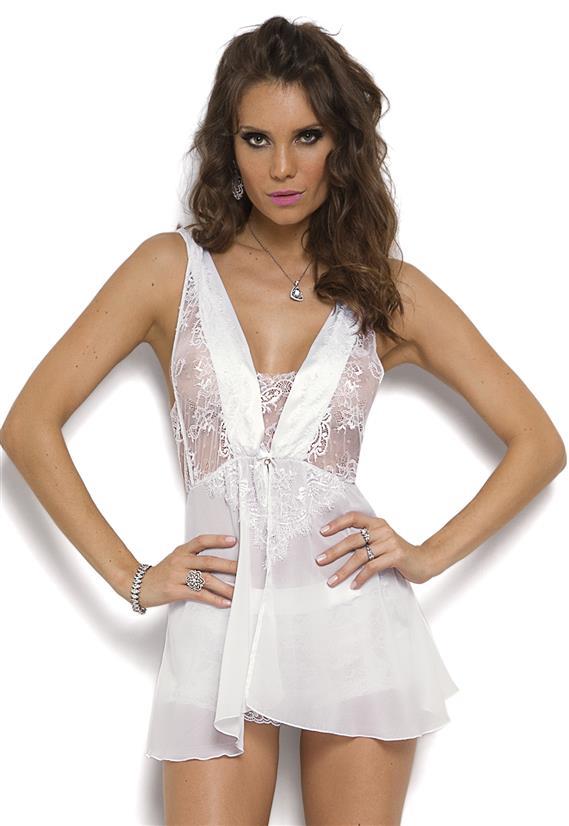 7bd679f414 Camisola Sensual Branca c/ Renda White Angel DeChellesLe Lingerie