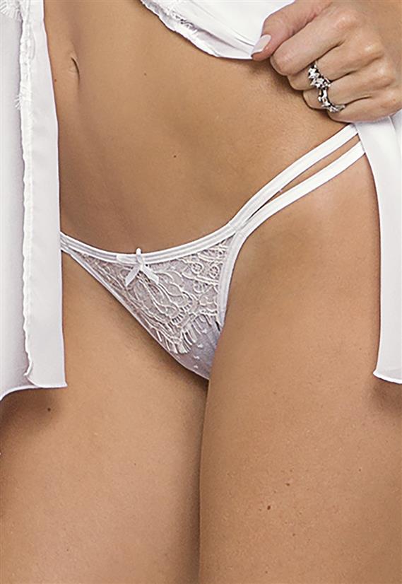 Calcinha String Branca em Tule White Angel De Chelles