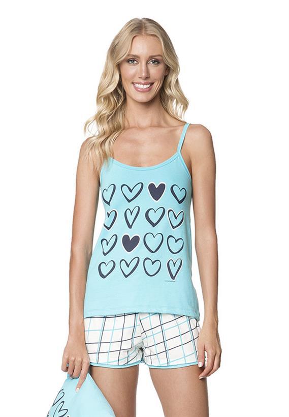 Short Doll Azul de Verão com Corações Chess Lua Encantada