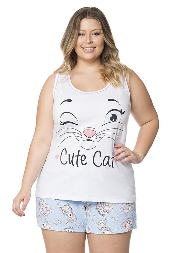 ccdb8fb8d Pijama de Verão Plus Size Gatinha Lua Encantada - Le Lingerie