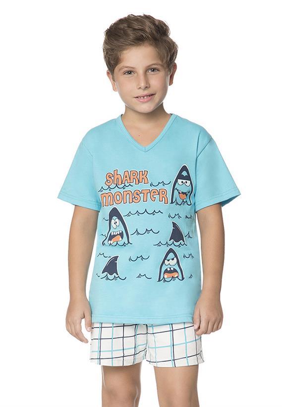 Pijama Azul Masculino Infantil que Brilha no Escuro Chess Lua Encantada