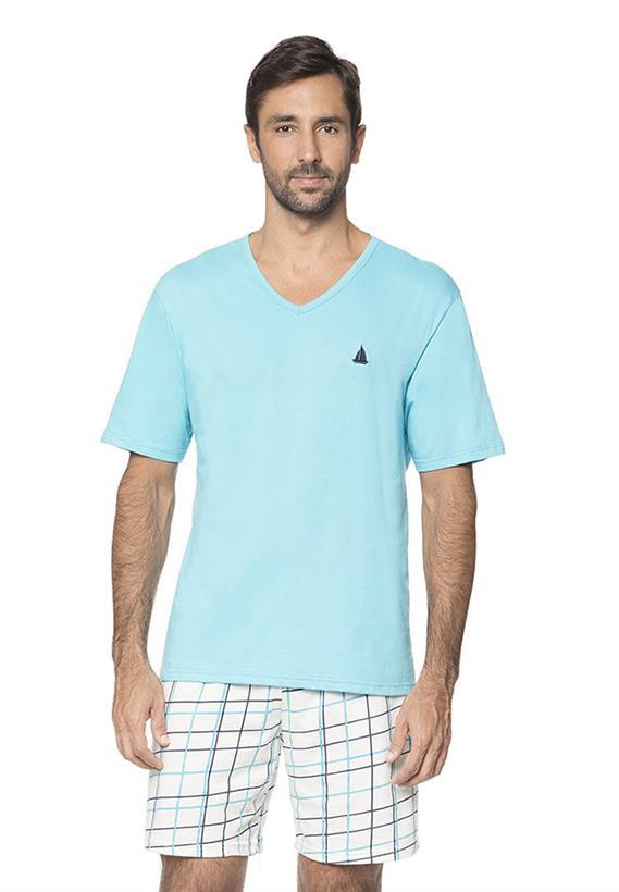 Pijama Azul de Verão Masculino Chess Lua Encantada