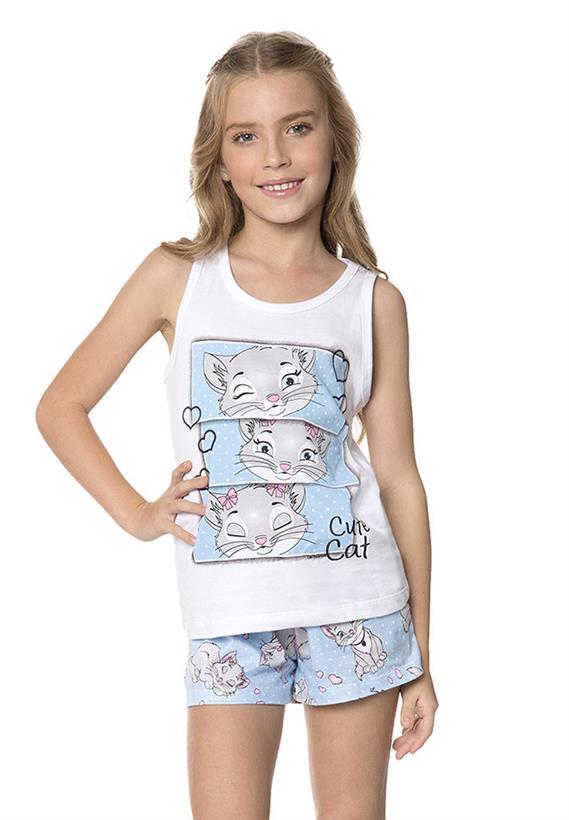 Pijama de Verão para Meninas Gatinhas Lua Encantada