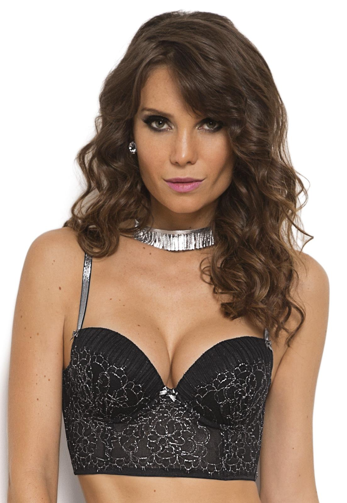 5c5b06b0b Top Preto com Bojo Push Up de Renda Black Shine De Chelles