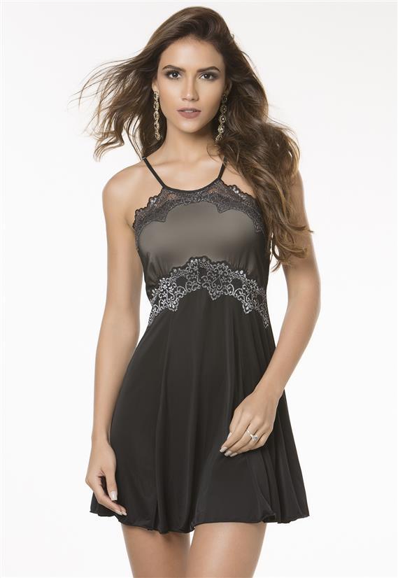 Camisola Preta Elegante em Liganete DelRio 30773