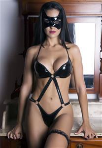 Body Erótico em Vinil com Máscara Dominatrix Garota Veneno