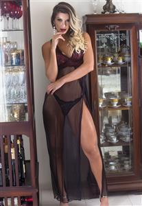 Camisola Longa Transparente com Renda Garota Veneno