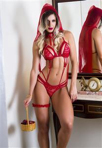 Body Erótico Chapéuzinho Vermelho Garota Veneno