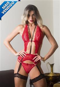 Body Vermelho Sensual Fenix Garota Veneno