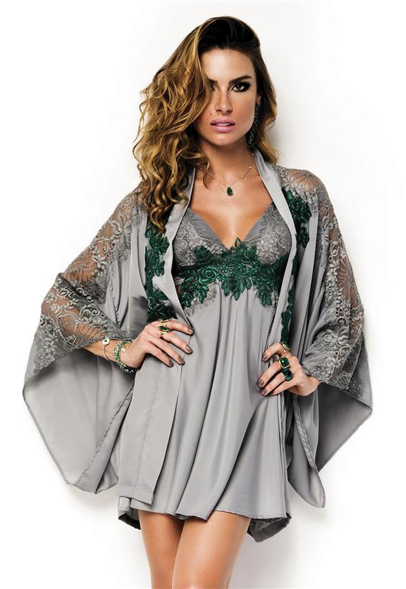 22ae3af6e Robe de Luxo em Voil com Renda Emerald De Chelles - Le Lingerie