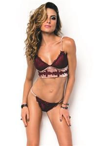 Conjunto Lingerie de Veludo com Renda Marsala Velvet Rosê De Chelles